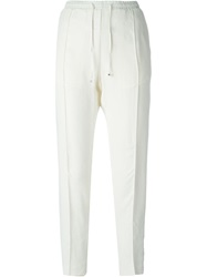 Moncler Tapered Crepe Trousers White
