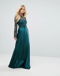 Body Frock Bodyfrock Lace Long Sleeve Maxi Dress With Satin Skirt Green