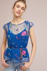 Plenty By Tracy Reese Burnell Embroidered Blouse Navy