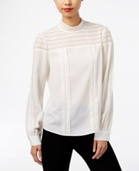 Eci Crochet Lace Mock Neck Top Ivory