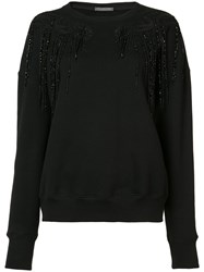 Alexander Mcqueen Crew Neck Sweatshirt Women Cotton Polyamide Viscose 38 Black