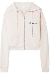 Re Done Embroidered Cotton Terry Hoodie White
