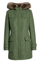 Pendleton Portland Wool Duffle Coat With Genuine Fur Trim Moss Mel