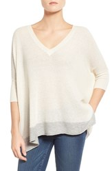 Women's Splendid 'Cruz' Colorblock V Neck Sweater Natural Light Grey