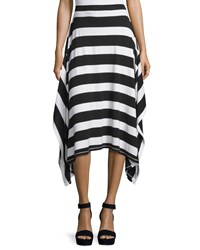 P. Luca Striped Side Tail Midi Skirt Blk Wht