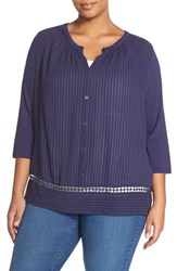 Plus Size Women's Lucky Brand Embroidered Inset Peasant Blouse Eclipse