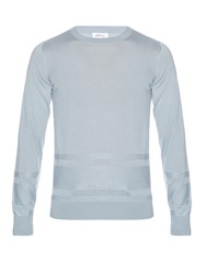 Brioni Stripe Knit Cashmere And Silk Blend Sweater