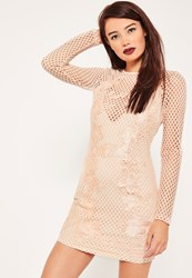Missguided Nude Lace Fishnet Long Sleeve Bodycon Dress