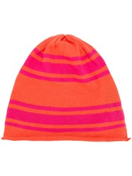 Unconditional Striped Beanie Yellow And Orange