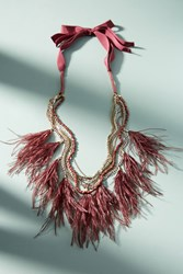 Anthropologie Wispy Feather Layered Necklace Wine