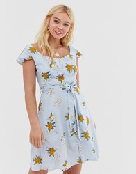 Qed London Floral Skater Dress With Tie Waist Detail Blue