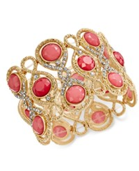Inc International Concepts Gold Tone Stone And Crystal Filigree Stretch Bracelet Only At Macy's Rose