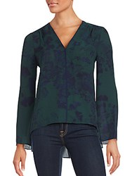Bcbgmaxazria V Neck Floral Printed Top Dark Navy Combo