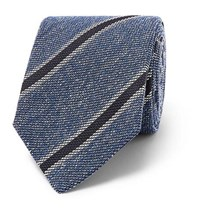 Drakes Drake's 8Cm Striped Silk Linen And Wool Blend Tie Blue