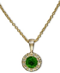 Effy Collection Brasilica By Effy Emerald 1 3 Ct. T.W. And Diamond Accent Round Button Pendant In 14K Gold Green