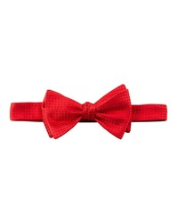 Neiman Marcus Pre Tied Box Pattern Satin Bow Tie Red