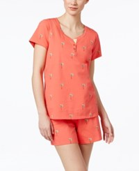 Charter Club Short Sleeve Top And Boxer Pajama Set Only At Macy's Palm Tree