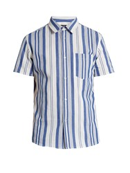 A.P.C. Multi Stripe Short Sleeved Cotton Shirt Blue Multi