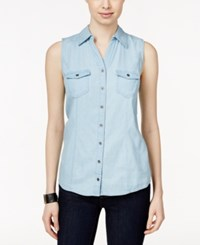 Styleandco. Style And Co. Sleeveless Denim Shirt Only At Macy's Ice Wash