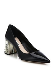Miu Miu Jeweled Heel Patent Leather Pumps Black