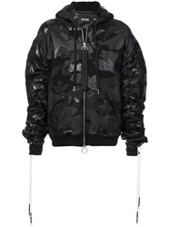 Mostly Heard Rarely Seen Boxy Camouflage Zip Up Hoodie Black