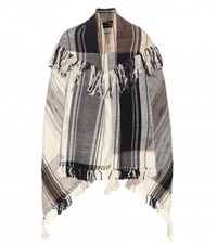 M. Patmos Check Fringed Wool Cape Neutrals