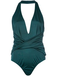 Tufi Duek Halter Neck Bodysuit Elastodiene Viscose Green