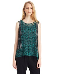 Kenneth Cole Mixed Print Blouse Grove Multi