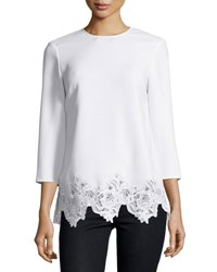 Elizabeth And James Florence 3 4 Sleeve Lace Trim Crepe Top Ivory