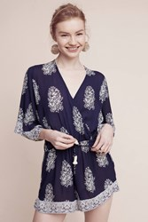 Anthropologie Devani Romper Blue Motif