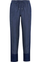 Equipment Hadley Printed Silk Twill Track Pants Navy