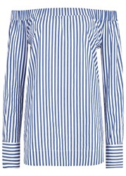 Pinko Striped Off The Shoulder Poplin Top Blue And White