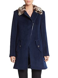 Rebecca Taylor Asymmetrical Wool Coat Blue