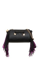 Betsey Johnson Fringe Party Crossbody Black