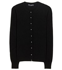 Dolce And Gabbana Crystal Embellished Cashmere Cardigan Black