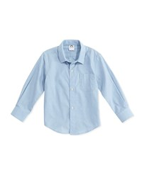 Appaman Long Sleeve Cotton Pin Dot Shirt Blue