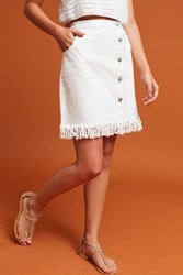 Anthropologie Pilcro Denim Fringe Skirt White