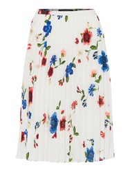 Ellen Tracy Floral Printed Skirt With Pleats Multi Coloured Multi Coloured