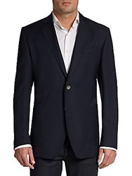 Saks Fifth Avenue Black Slim Fit Wool Two Button Blazer Navy
