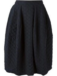 Hache Textured Mid Length Skirt Blue