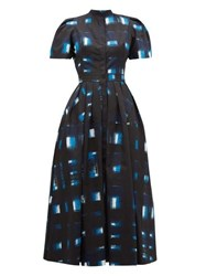 Alexander Mcqueen Hand Printed Check Cotton Poplin Dress Blue Multi