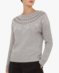 7b033e25a73250 Ted Baker Corilyn Beaded Jumper Mid Grey