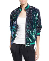 Pam And Gela Sequin Velour Zip Front Track Jacket Blue Pattern
