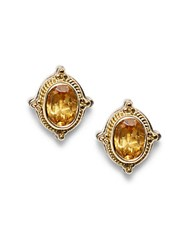 Konstantino Color Classics Citrine 18K Gold And Sterling Silver Stud Earrings