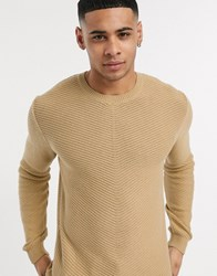 Solid Knitted Jumper In Beige