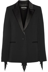 Tom Ford Fringed Stretch Cady Blazer Black