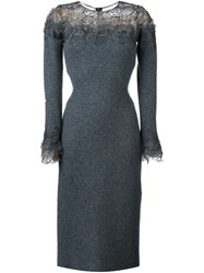 Ermanno Scervino Lace Panel Long Sleeve Shift Dress Grey