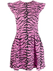 Saint Laurent Zebra Print Dress Pink