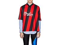 Martine Rose Twisted Logo Print Striped Jersey Red