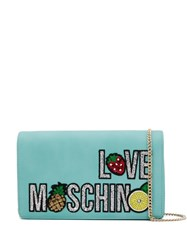 Love Moschino Sequined Clutch Bag Blue